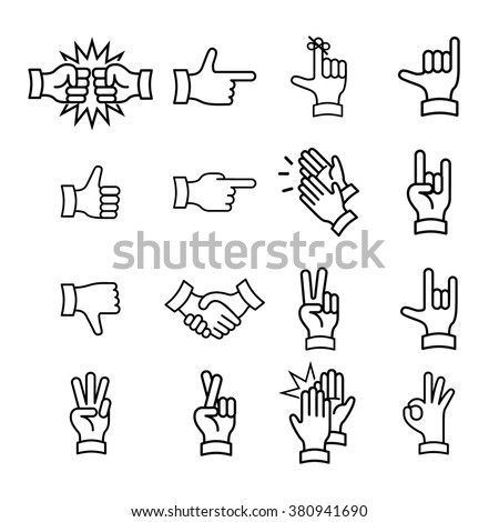 Hand Gestures from Clapping Hand to Thumb Up. Line icons set. Flat style color vector symbols isolated on black.