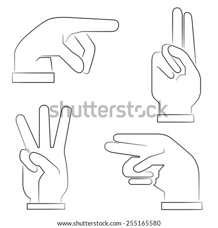 hand gestures icons set - stock vector