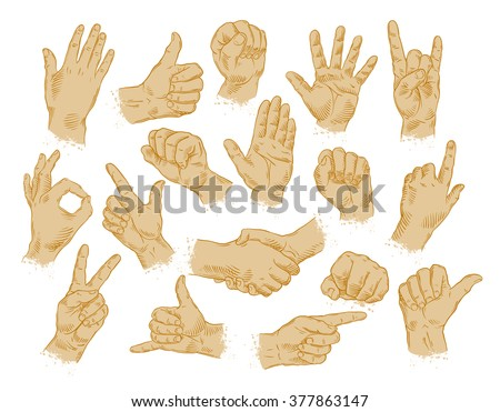 hand gestures. set of vector symbols and icons