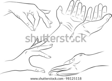 hand gestures set on white background - freehand, vector illustration - stock vector