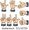 Hand Gestures, vector collection of detailed isolated body parts - stock vector