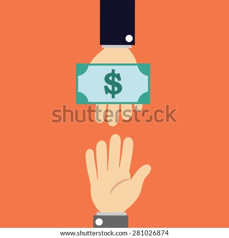 Hand gives dollar banknote to another hand - stock vector