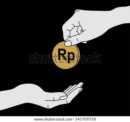 hand giving a donation - stock vector