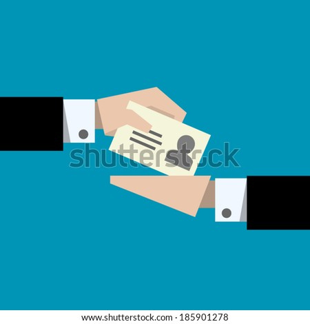 Hand giving business card - vector illustration - stock vector
