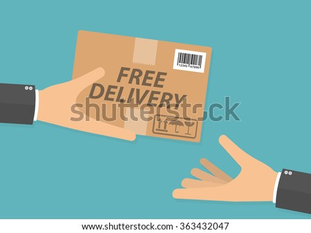 Hand giving cardboard package with free delivery text on it to another hand. Delivery concept. Flat design