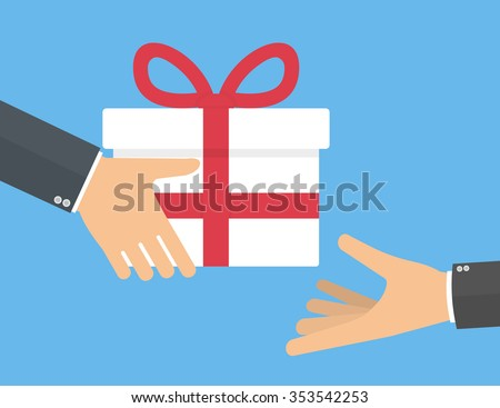 Hand giving gift box another hand stock vector hd royalty free hand giving gift box to another hand gifting and receiving gift concept flat style negle Choice Image