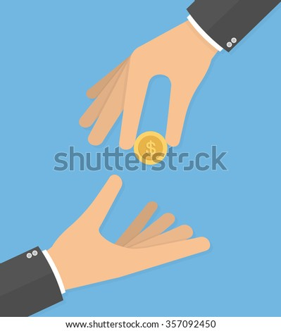Hand giving golden coin to another hand. Charity concept. Hand holding coin. Flat style - stock vector