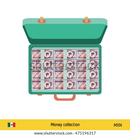 Hand giving Mexican Peso banknote and present gift instead. Shopping design over white background, vector illustration.