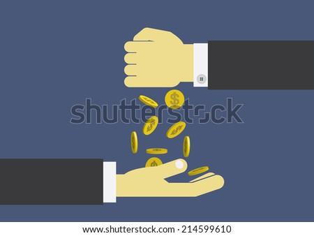 hand giving money - stock vector