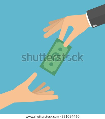 Hand giving money bill to another hand. Giving money to the poor or helping the poor concept. Vector illustration in flat style - stock vector