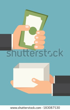 Hand giving money bill, vector - stock vector