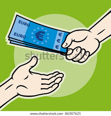 Hand, giving money (euro banknotes) to other hand, EPS 8, CMYK. - stock vector