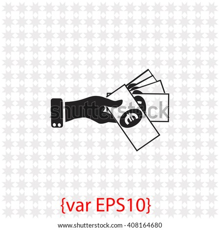 Hand giving money euro to other hand icon. Hand giving money euro to other hand vector. Simple icon isolated on gray background. - stock vector
