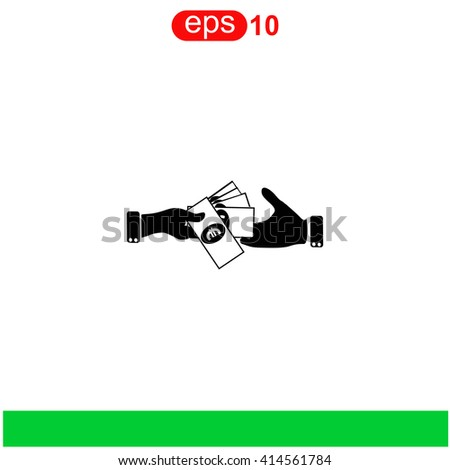 Hand giving money euro to other hand isolated icon. Hand giving money euro to other hand isolated icon vector. Hand giving money euro to other hand isolated icon illustration. - stock vector