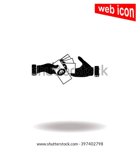 Hand giving money euro to other hand isolated. Vector icon. - stock vector