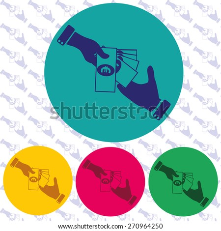 Hand giving money evro to other hand icon isolated - stock vector