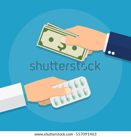 Hand giving money for medicine. Buying medical pills in blister pack for dollar bills. Healthcare. Medicine healthcare concept, Vector illustration for web, mobile app in flat style