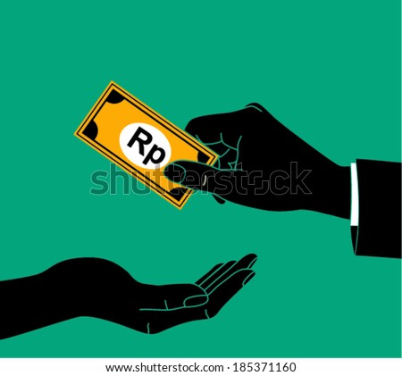 Hand giving money rupiah to other hand isolated  - stock vector