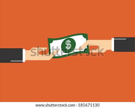 hand giving money to other hand.  concept vector illustration - stock vector