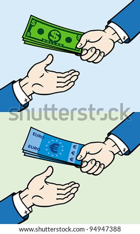 Hand, giving money to other hand, EPS 8, CMYK. - stock vector