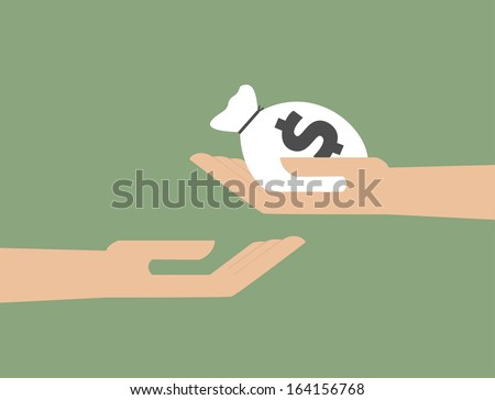 Hand giving the money to hand  - stock vector