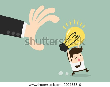 hand grabbing light bulb - stock vector