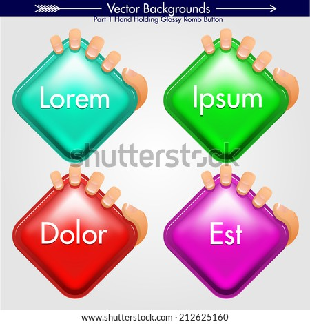 Hand grabbing Romb Shape With Round Corners. Vector Design Element. Glossy Background - stock vector