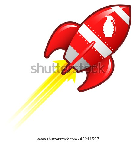 Hand grenade icon on on red retro rocket ship illustration good for use as a button, in print materials, or in advertisements. - stock vector