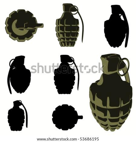 hand grenade silhouette set - stock vector
