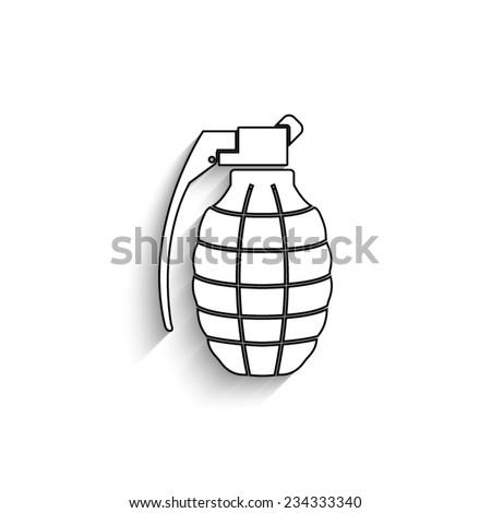 hand grenade - vector icon with shadow - stock vector
