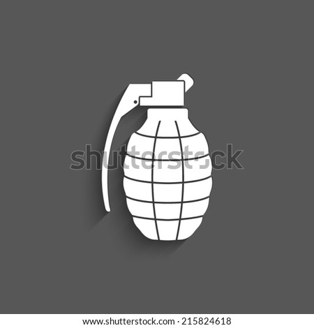 hand grenade - vector icon with shadow on a grey background - stock vector