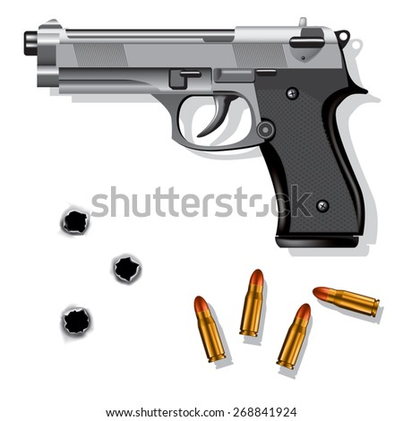 Hand gun isolated on white background with bullets and bullet holes. Vector illustration - stock vector