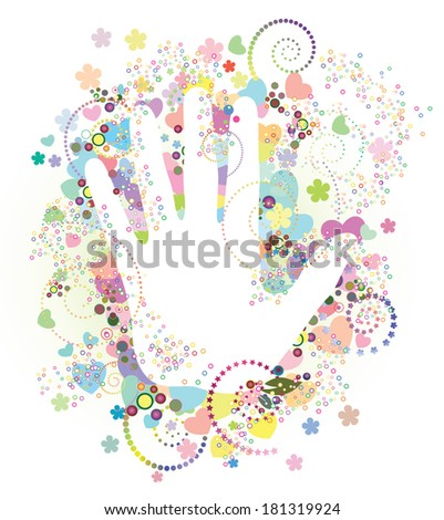 Hand, heart and flowers. - stock vector