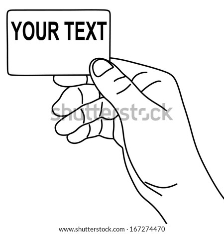 Hand hold blank card, illustration  - stock vector