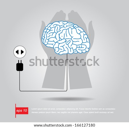 hand hold brain connecting with electric socket - vector illustration - stock vector
