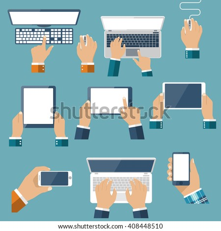 Hand hold devices electronics. Set computer devices in hand man. Laptop, tablet, smartphone, mobile phone, computer, keyboard, mouse. Vector flat design. Icon technology device in hand. Gadget hands. - stock vector