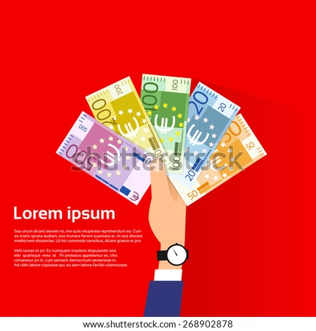 Hand Hold Euro Banknote Pack Flat Design with Shadow Vector Illustration - stock vector