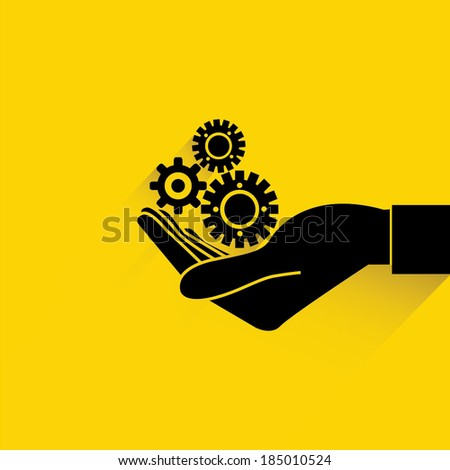 hand hold gear on yellow background, management concept - stock vector