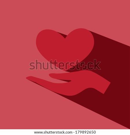 hand hold heart vector icon - stock vector