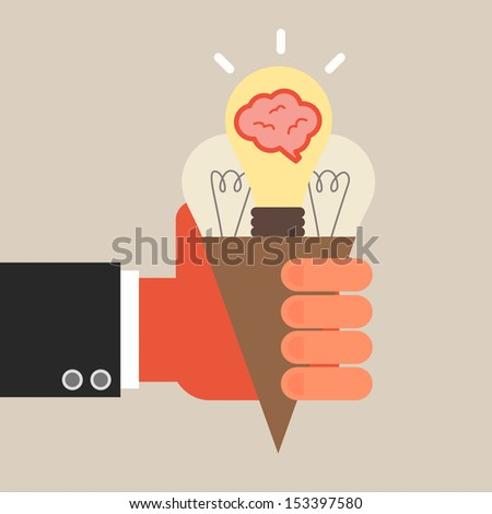 hand hold idea ice cream - stock vector