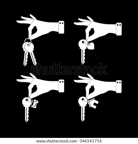 hand hold key - vector icon, set -home, car and heart keys - stock vector