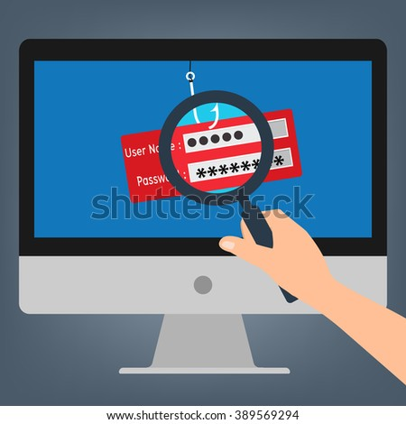 Hand hold magnifying glass found computer with malware virus phishing username and password logon. Vector illustration business computer security technology concept. - stock vector