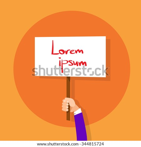 Hand Hold Placard Sign Board Blank with Copy Space Flat Design Vector illustration - stock vector