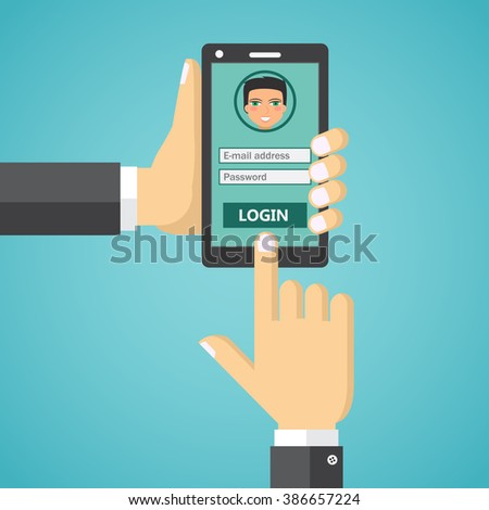 Hand hold smartphone, finger touch sign in button. Modern concept for web banners, web sites, infographics.