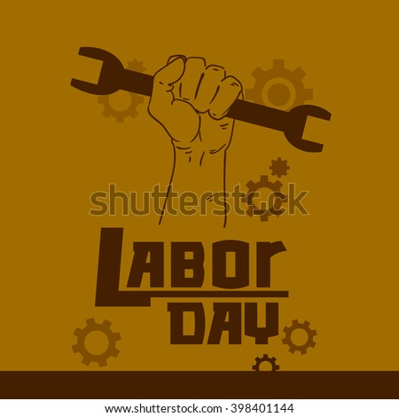 Hand Hold Spanner Wrench International Labor Day May Holiday Flat Vector Illustration