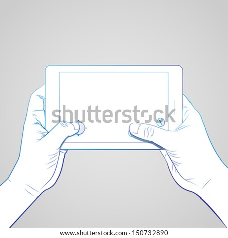 Hand Hold Tablet Game - stock vector