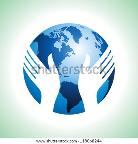 hand hold the globe - stock vector