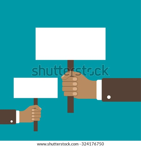 Hand holding a blank placard. Place in the ad, advertising statements, saying. protest board in flat style - stock vector