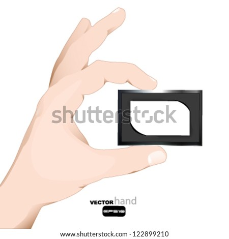 hand holding a business card call to place your name and telephone. - stock vector