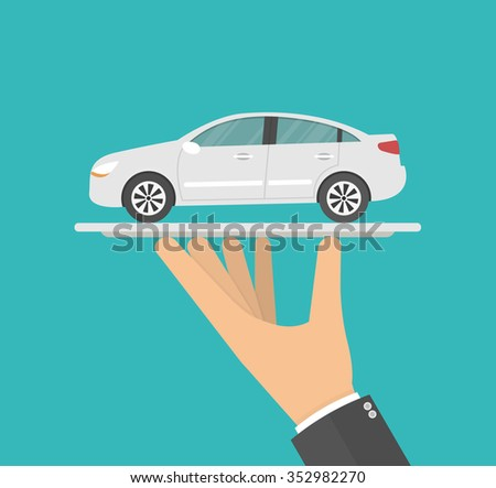 Hand holding a car model on a silver serving tray. Flat style